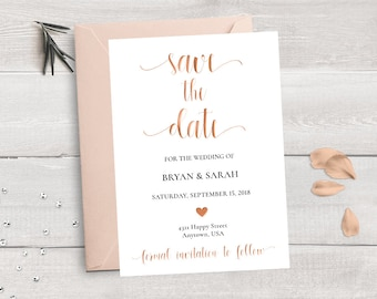 Rose Gold Save the Date Template, Save Our Date Printable, Copper Save the Date Card Wedding Printable, Modern Calligraphy Save the Date DIY