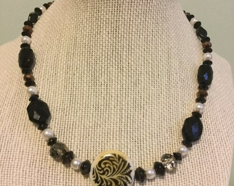 "Vintage Beads -  ""Chameleon""  Upcycled Necklace - Jewelry Made with Vintage/ Recycled Materials"
