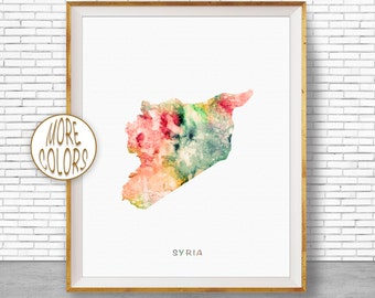 Syria Map Art Syria Print, Syria Art Print, Home Decor Wall Art Decor, Home Wall Decor, Watercolor Painting, Wall Prints, ArtPrintZone