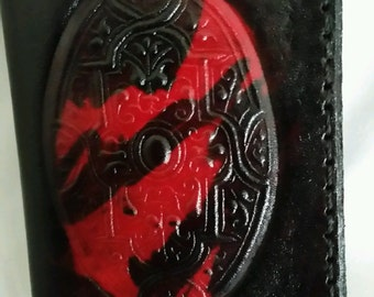 Black and red arabesque, leather, credit card holder, business card holder, ID card holder comma One of a Kind, unique, men's gift