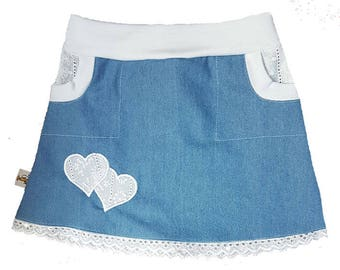 Denim skirt with embroidered hearts