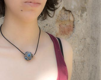 Pearl Choker necklace with Raku ceramic, rubber with metal clasp, Pearl blue smaltatata China