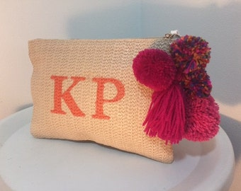Monogram bags personalised initial bags straw clutch pom