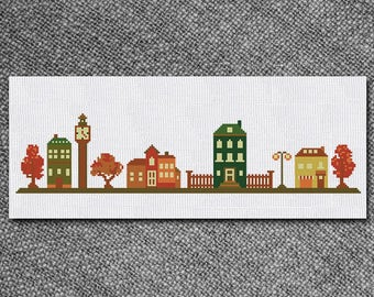 Cross Stitch Pattern Town street Instant Download PDF Counted Chart