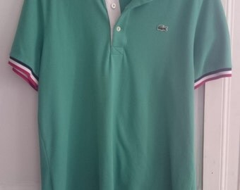 Polo Lacoste Vintage // Blue Green, Blue, Red, White collar & sleeves // Size M