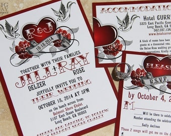 Rockabilly Wedding Invitation Set With Sparrow Lovebirds And Roses.  Steampunk Heart Wedding Invitations.