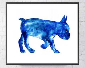 Blue Bulldoge  Bulldoge Art print Bulldoge Wall decor Bulldoge watercolor print Bulldoge poster wall decor Blue Bulldoge watercolor painting