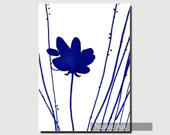 Indigo color flowers, blue and white, printable download, contemporary art, minimalist art, abstract art, 5x7, 8x12, A4