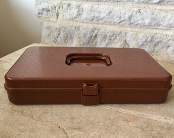 vintage sewing box thread storage brown wilson manufacturing wil-hold