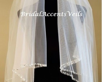 2 Tier Double Layer Fingertip Bridal Wedding Veil with Blusher and Rhinestone Pearl Beaded Edge in White, Diamond White or Ivory