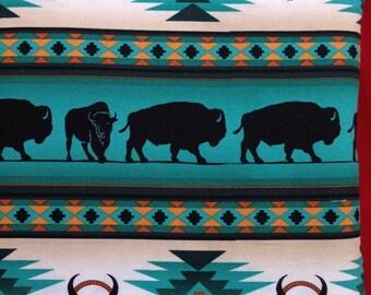 Fabric in Buffalo Design in Turquoise