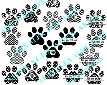 70% OFF, Paws Svg, Dog Svg, Cricut Cut Files, Dog Paws Svg Files, Dxf, Png, Eps File, Paws Monogram Svg, Paws Split-Monogram Svg,Silhouette