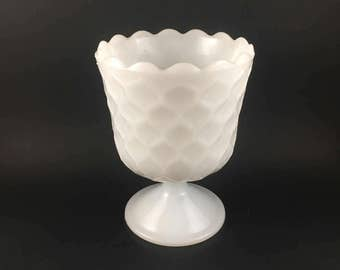Milk Glass Honeycomb Design Vase/Compote By E.O. Brody