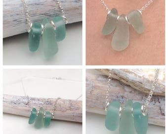 Sterling Silver Seahouses Sea Glass Stack Necklace