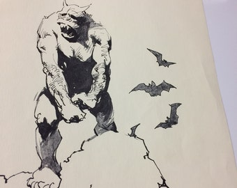 Vintage pen and ink black and white art print gargoyle monster bats artwork by Frank Frazetta large quirky whimsical wall art