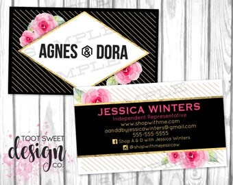 Agnes and Dora Business Cards, Agnes & Dora Business Card, Gold Floral, Black and White Stripe Personalized Marketing / Branding, PRINTABLE