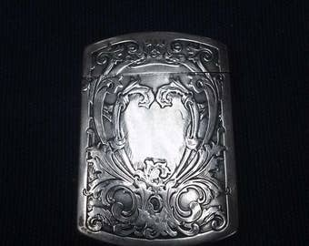 Art Nouveau Silverplated Match Holder