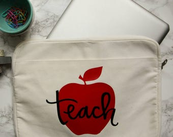 Canvas Sleeve Electronics Case for Computer or Tablet | Custom Computer Case | Custom Tablet Case | Custom iPad Case | Hand-lettered Designs
