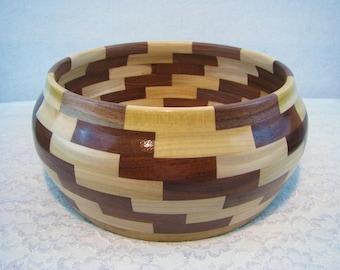 Wood Bowl, Wooden Bowl, Large Wood Bowl, Large Wooden Bowl, Segmented Wood Bowl, Hand Turned Wood Bowl, Handmade Wood Bowl, Fruit Bowl, #006