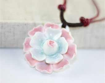 Pink and Blue Flower Necklace