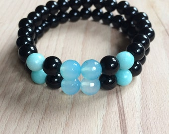 Deap Sea Mala Bracelet // Bracelets // Yoga Mala bracelet // onyx, amazonite, blue agate.