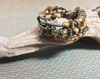 Antique Brass and Tigereye Large Memory Wire Bracelet