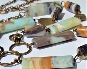 Blue,Gray Beaded Long Necklace, Bracelet,Earrings Set, 40mm Blue Amazonite Pyrite Rectangle and Cylinder Beads,Antique Bronze Tone Chain