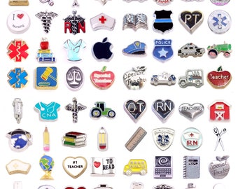 When I Grow Up! Pick a Floating Charm for Living Memory and Glass Story Lockets - Nurse, Medical, Police, Farmer, Postman, Teacher, and More