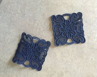 Embroidered Coaster - Blue, 6 in set