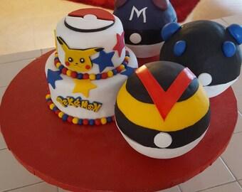 Pokemon faux cakes dummy cakes display cakes pokeballs