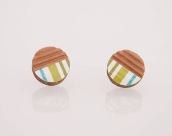 Bottonciotti--lobe striped textured paper earrings green and blue, handmade, ecofriendly