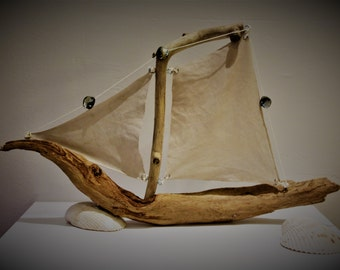 Sailing ship from driftwood