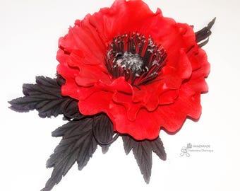 Red poppy hairpiece Poppy hair clip Red poppy brooch Poppy hair accessory Poppy headband bright red poppies Red poppy girls Poppy Boho