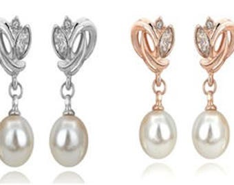 Bridal Wedding Rose Gold Or Silver Plated Austrian Crystal and Pearl Earrings