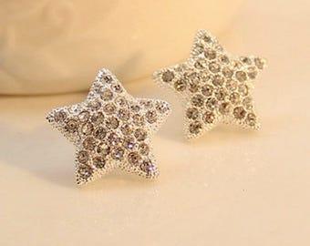 Bridal Wedding Prom Star Zircon Crystal Earrings