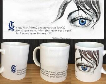 Literary Mug, Literary gifts, Eye Quote Mug, Eye Mug, Shakespeare Mug, Designer Mug