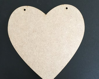 Heart shape blank plaque with 2 hanging holes
