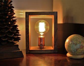 Shadow Box Lamp - Solid Oak