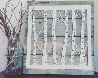 Laser Cut Birch Tree Sign