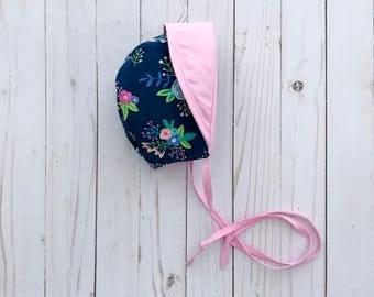 Blue Bonnet | Pink Toddler Sun Bonnet | Floral Bonnet | Baby Sun Bonnet | Made to Order