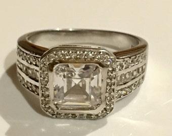 3ct asscher cut halo set multi stone ring stetling silver 925