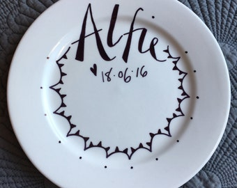 Personalised Plate – New Baby