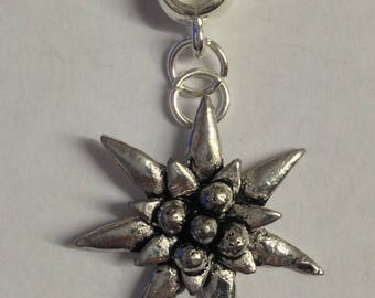 Small Edelweiss with 5mm Hole to fit Pendant Charm Bracelet European also fits Pandora Bracelets , necklaces refC21