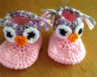 Crochet owl booties. Handmade in a smoke free home