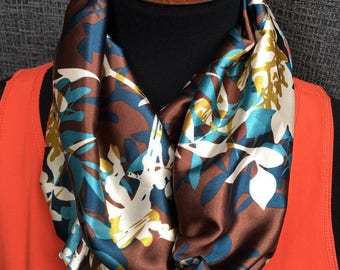 Fall Scarf, Patterned Infinity Scarf, Brown Scarf, Brown Infinity Scarf, Gold Scarf, Fashion Scarf, Dressy Scarf, Unique Scarf, Navy Scarf