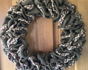 Chocolate Burlap Wreath