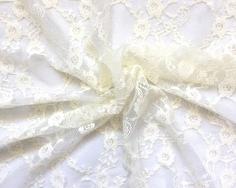 Stretch Lace Fabric, Fabric by the Yard, Lace Fabric - Ivory Lace