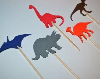 Dinosaur Cupcake toppers/ Food picks - (Set of 15)
