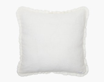 Pillowcase LYKKE linen - pillows - pillow cover - white - with ruffle and zipper