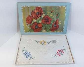 Vintage NOBEL Swiss Style Boxed Set of 3 Floral Embroidered Handkerchiefs Lace